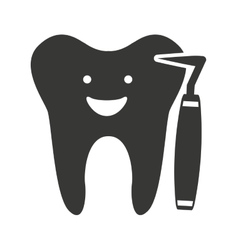 Tooth character silhouette with dental care icon vector