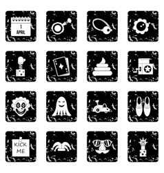 April fools day set icons grunge style vector