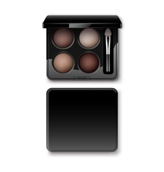 Multicolored eye shadows in case with makeup brush vector