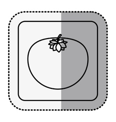 Monochrome square with middle shadow sticker with vector