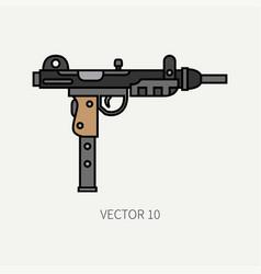 line flat color military icon - machine gun vector image