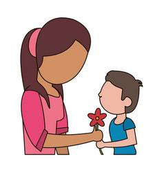 boy giving flower mother celebration vector image