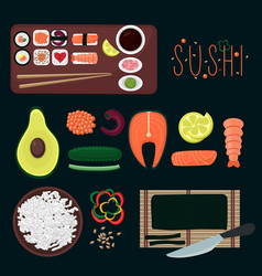 Sushi elements collection vector