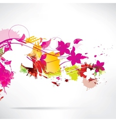 Abstract background with splash and flowers vector