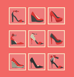 feminine red high heel shoes square icons set vector image