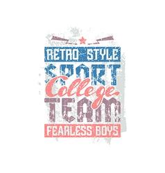 College sport team emblem vector