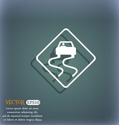 Road slippery icon symbol on the blue-green vector