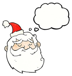 Cartoon santa claus face with thought bubble vector