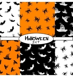 Halloween icons seamless pattern from animals hat vector