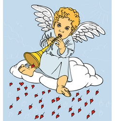 Angel with pipe on cloud vector