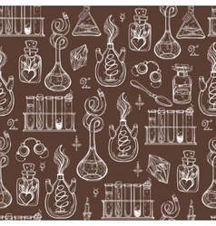 Seamless pattern of alchemy vintage lab symbols vector