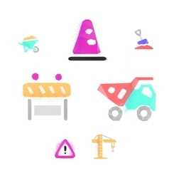 Construction works polygonal icons vector