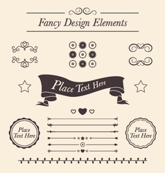 Set of fancy icons frames borders divider lines vector