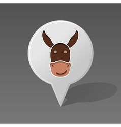 Donkey pin map icon animal head vector