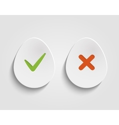Yes no checkmark egg button vector