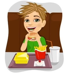 Young boy eating cheeseburger with french fries vector