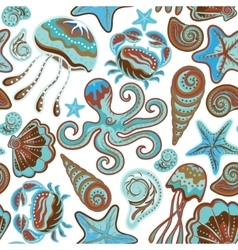 Seamless pattern of sea life fishes whale vector