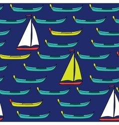 Seamless pattern of boats and sails vector
