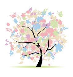 Floral tree in pastel colors for your design sprin vector