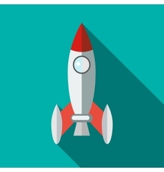 Retro rocket icon in flat style vector