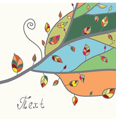 Autumn card with tree and leaves vector image vector image