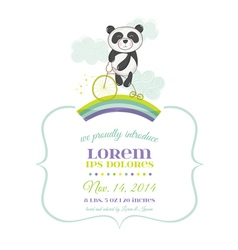 Baby shower or arrival card - baby panda on a bike vector