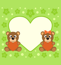 Background with funny bears cartoon vector