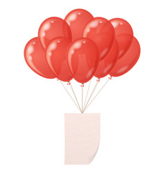 balloons bunch with paper sheet vector image vector image
