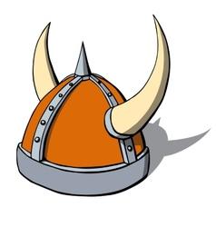 Cartoon viking helmet with horns vector