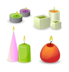 Collection of different aroma candles for relax vector