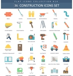 Construction color flat icon set Elegant vector image