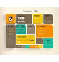 Creative resume template with tiles vector image vector image