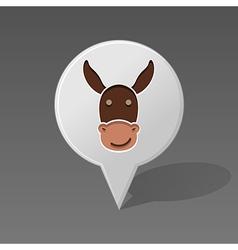 Donkey pin map icon animal head vector