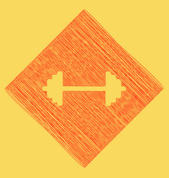 Dumbbell weights sign red scribble icon vector