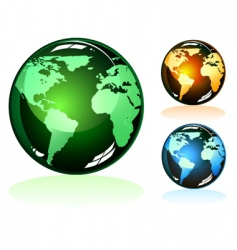 earth glossy icons vector image vector image
