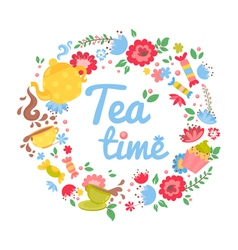 Elegant tea time floral wreath vector image