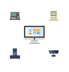 Flat icon laptop set of technology processor pc vector