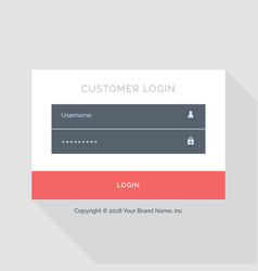 Flat white login form ui template design vector