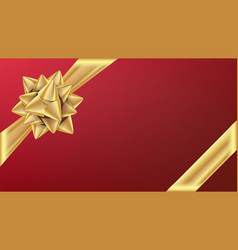 gold gifr ribbon with bow gift element for vector image