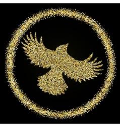 Golden glitter flying bird on black background vector