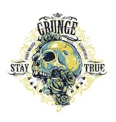Grunge Skull Print vector image