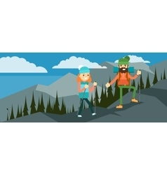 Hikers walking in outdoor vector image vector image