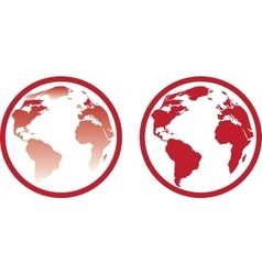Icon of red globe vector image