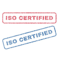 Iso certified textile stamps vector