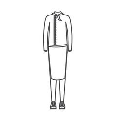 Monochrome silhouette of female uniform of chef vector