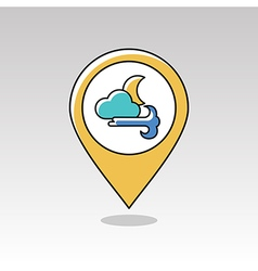Moon cloud blows wind pin map icon weather vector
