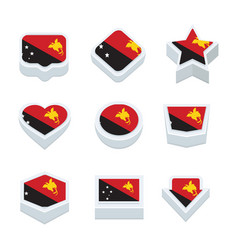 Papua new guinea flags icons and button set nine vector