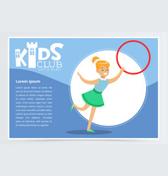 Poster for kids club with cute teen girl with hula vector