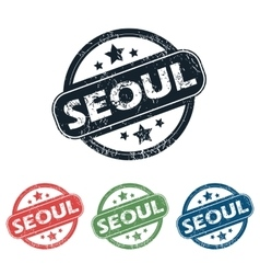 Round seoul city stamp set vector