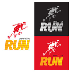 running sportsman on different background sport vector image